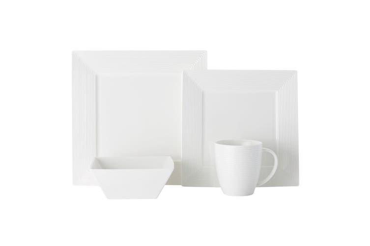 16pc Casa Domani Casual White Evolve Square Mugs Bowls Dinner Side Plates Set