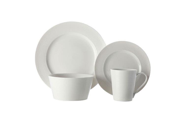 16pc Casa Domani Casual White Evolve Porcelain Mugs Bowls Dinner Side Plates Set