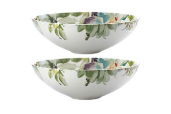 2pc Casa Domani 31cm Botanical Ceramic Round Serving Food Bowl Tableware GRN WHT