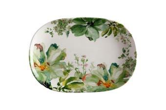 Casa Domani 40x28cm Botanical Ceramic Oval Serving Food Platter Plate GRN WHT