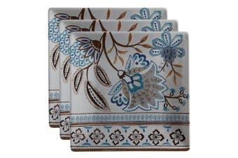 3x Casa Domani 34cm Lombardy Square Serving Plate Food Kitchenware Party Platter