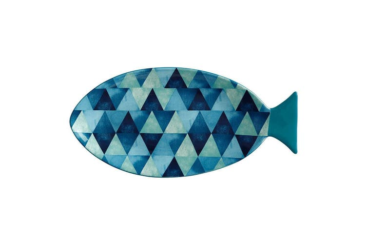 Maxwell & Williams Reef 30cm x 15cm Fish Shaped Ceramic Platter Servingware Blue