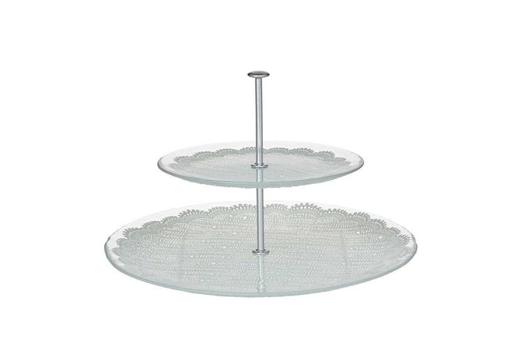 Davis & Waddell Willow 2 Tier Glass Serving Platter Food Stand Display Cupcake