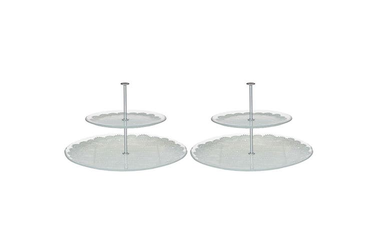 2PK Davis & Waddell 2 Tier Glass Tray Serving Platter Food Stand Display Cupcake