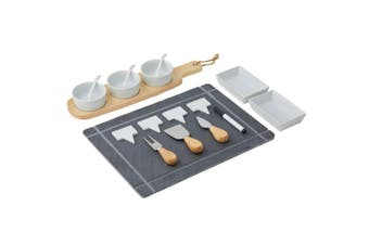 Davis & Waddell Slate Board Set Serving Cheese Platter w Dip Bowl Knife Knives
