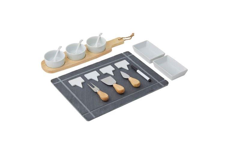 Davis & Waddell Slate Board Set Serving Cheese Platter w Dip Bowl Knife Knives