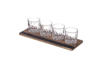 5pc Davis & Waddell Fine Foods 240ml Whisky Glass Flight with 37cm Tray