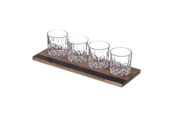 5pc Davis & Waddell Fine Foods 240ml Whisky Glass Flight with 37cm Tray