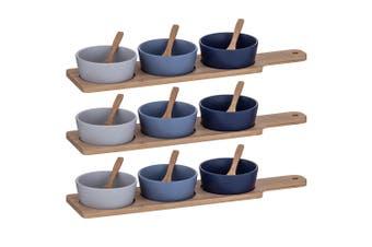 21pc Davis & Waddle Taste Serving Bowls w  Bamboo Paddle Light Medium Dark Blue