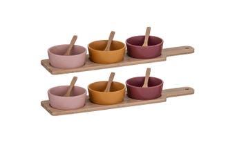14pc Davis & Waddle Taste Serving Dips Bowls w Bamboo Paddle Pink Mustard Maroon