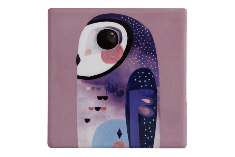 Maxwell & Williams 9.5cm Pete Cromer Ceramic Owl Square Tile Cup Drink Coaster