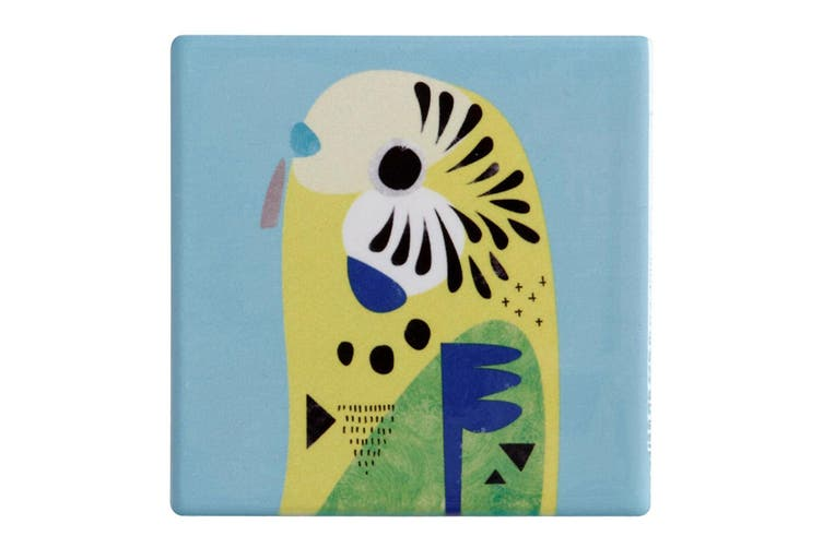 Maxwell & Williams 9.5cm Pete Cromer Ceramic Budgerigar Square Cup Drink Coaster