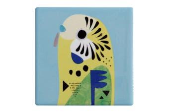 Maxwell & Williams 9.5cm Pete Cromer Ceramic Budgerigar Square Cup Drink Coaster