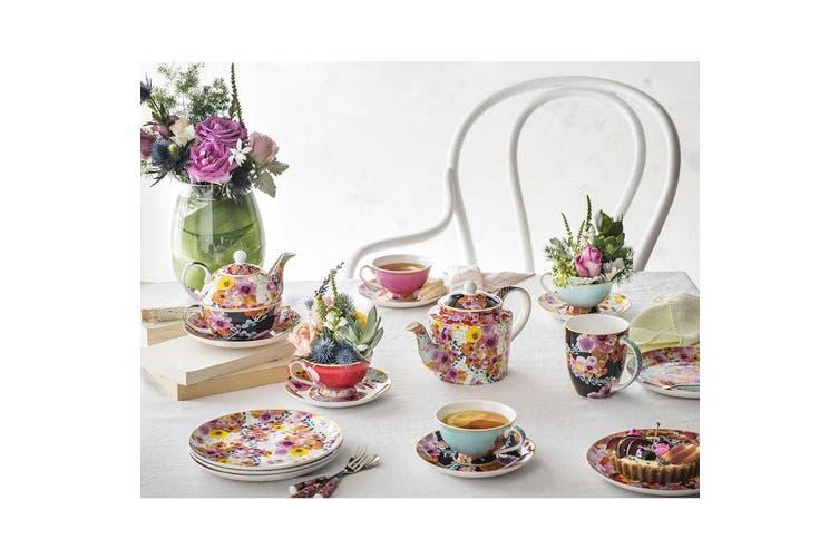 Maxwell & Williams Teas & C's Contessa 20cm Round Ceramic Cork Floral Trivet WHT