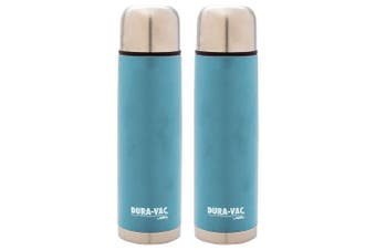 2x Thermos Dura-Vac 1.0L Stainless Steel Slim Flask Vacuum Insulated Bottle Blue