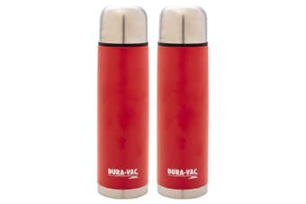 2x Thermos Dura-Vac 1.0L Stainless Steel Slim Flask Vacuum Insulated Bottle Red