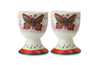 2pc Maxwell & Williams Smile Style Egg Cup Holder Hard Boiled Stand Set Flutter