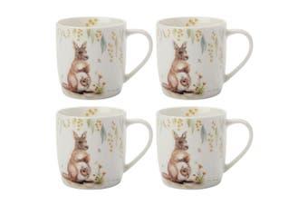 4x Maxwell & Williams Sally Howell 340ml Coffee Mug Drink Cup Kangaroo & Joey WH