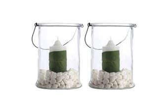 2PK Casa Domani 25cm Hurricane Glass Vase Candle Planter Lantern Lamp Home Decor