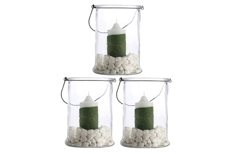 3PK Casa Domani 25cm Hurricane Glass Vase Candle Planter Lantern Lamp Home Decor