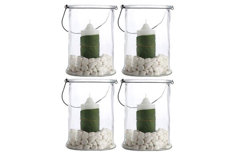 4PK Casa Domani 25cm Hurricane Glass Vase Candle Planter Lantern Lamp Home Decor