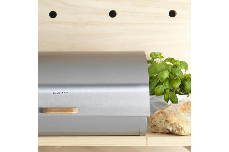 Ecology Provisions Acacia Stainless Steel Wood Bread Bin Storage Container