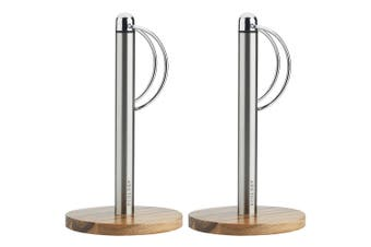 2PK Ecology Provisions Acacia Kitchen Stainless Steel Paper Holder Dispenser