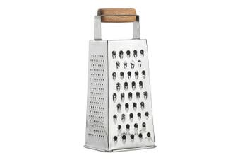 Ecology 4 Sided 24cm Acacia Stainless Steel Cheese Vegetables Grater Utensil