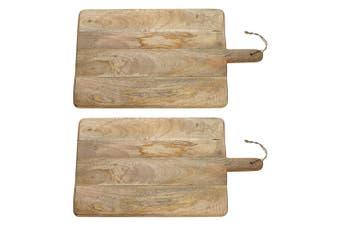 2x Ecology 45x29cm Arcadian Serving Paddle Board Cheese Fruit Platter Mango Wood