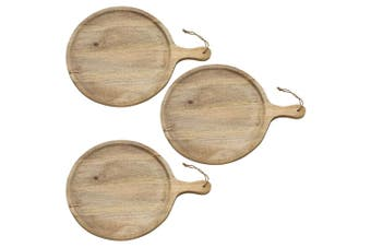 3x Ecology 49x37cm Arcadian Serving Round Paddle Board Cheese Platter Mango Wood