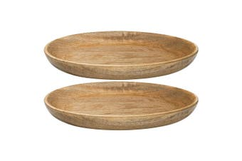 2PK Ecology 29cm Arcadian Round Serving Cheese Fruit Platter Natural Mango Wood