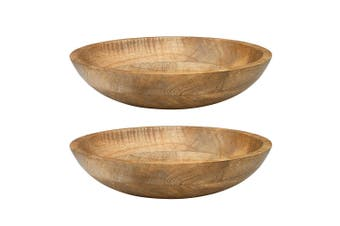 2PK Ecology 30cm Arcadian Salad Food Dinner Serving Bowl Natural Mango Wood