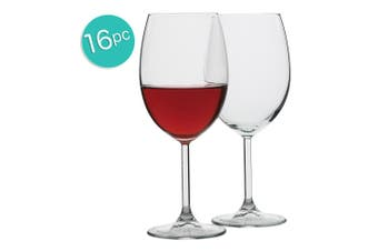 16pc Ecology Otto European 440ml Clear Stemless Red Wine Glasses Barware Set