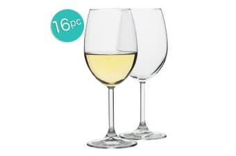 16pc Ecology Otto European 360ml Clear Stemless White Wine Glasses Barware Set