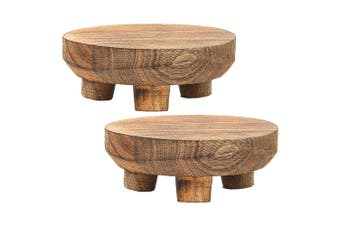 2x Ecology 15cm Mason Round Footed Serving Cheese Board Stand Natural Mango Wood