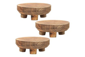 3x Ecology 15cm Mason Round Footed Serving Cheese Board Stand Natural Mango Wood
