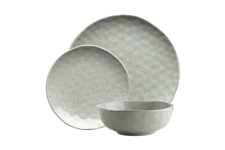12pc Ecology Speckle Dinner Side Plate Noodle Bowl Gloss Tableware Set Duck Egg