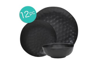12pc Ecology Speckle Dinner Side Plate Noodle Bowl Gloss Tableware Set Ebony
