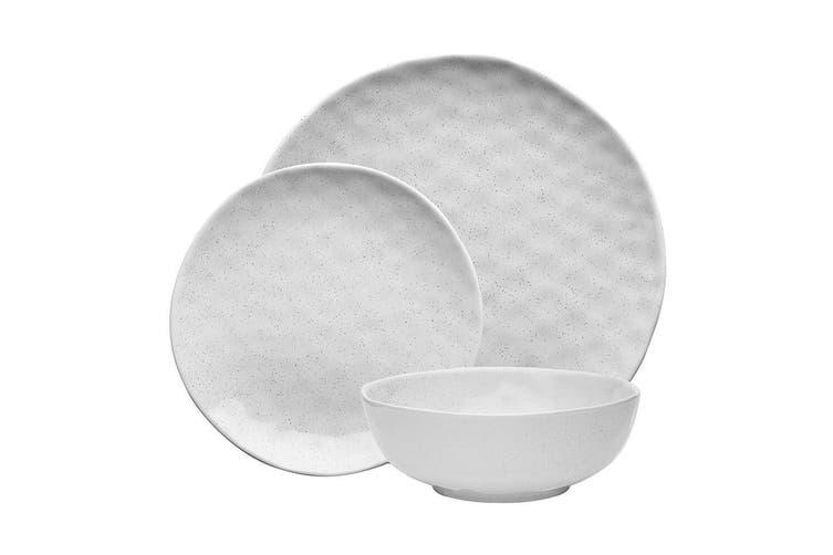 12pc Ecology Speckle Dinner Side Plate Noodle Bowl Gloss Tableware Set Milk