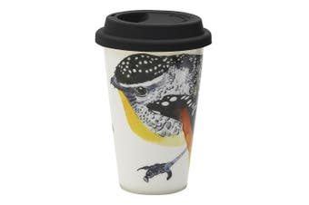 Ecology Paradiso 240ml Travel Mug Fine China Drinking Flask Cup w  Lid Pardalote