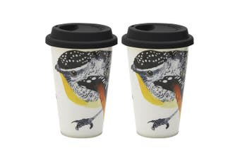 2PK Ecology Paradiso 240ml Travel Mug Fine China Drinking Flask w  Lid Pardalote
