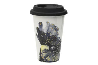 Ecology Paradiso 240ml Travel Mug Fine China Drinking Flask Cup w  Lid Cockatoo