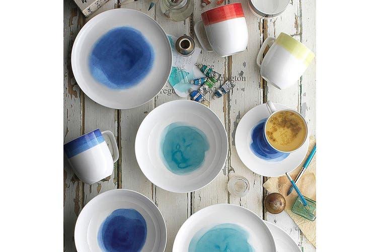 12pc Ecology Seasons Watercolour Fine Bone Dinner Side Plate Bowl Coupe Set Aqua