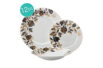 12pc Maxwell & Williams Cashmere Mystic Rose Rim Plates Soup Bowls Dinner Set