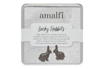 Amalfi Lucky Rabbits Set of 2 Cast Iron Home Decor Gifts Figurines Statue Decor