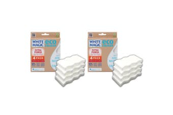 2x 4PK White Magic Extra Power Eco Eraser 11cm Kitchen Cleaning Sponge White