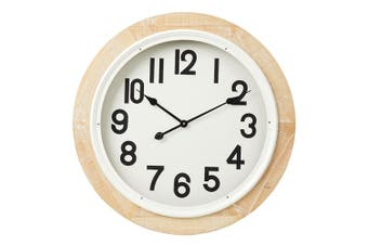 Amalfi 68cm Portsea Wall Clock Time Quartz Analogue Home Room Decor Wood Natural