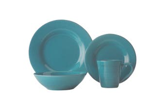 16pc Casa Domani Portofino Turquoise Dinner Plate Bowl Tableware Set Gift Boxed