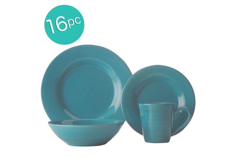 16pc Casa Domani Portofino Turquoise Dinner Plate Bowl Tableware Set Gift Boxed