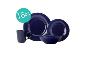 16pc Casa Domani Portofino Stoneware Mugs Bowls Dinner Side Plates Cobalt Set